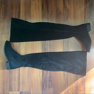 Akira Black Suede over the knee thigh high boots 9 flat boot
